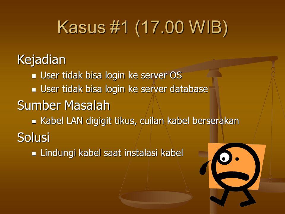 Kasus #1 (17.00 WIB) Kejadian User tidak bisa login ke server OS User tidak bisa login ke server OS User tidak bisa login ke server database User tida