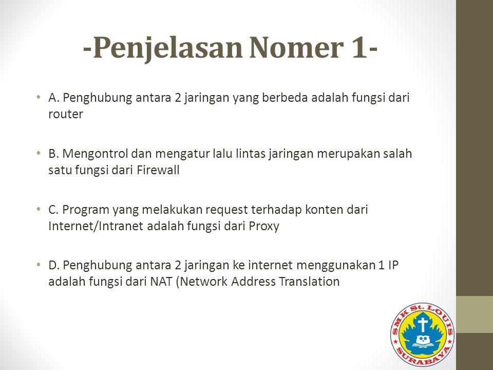 -Penjelasan Nomer 1- A. Penghubung antara 2 jaringan yang berbeda adalah fungsi dari router B. Mengontrol dan mengatur lalu lintas jaringan merupakan