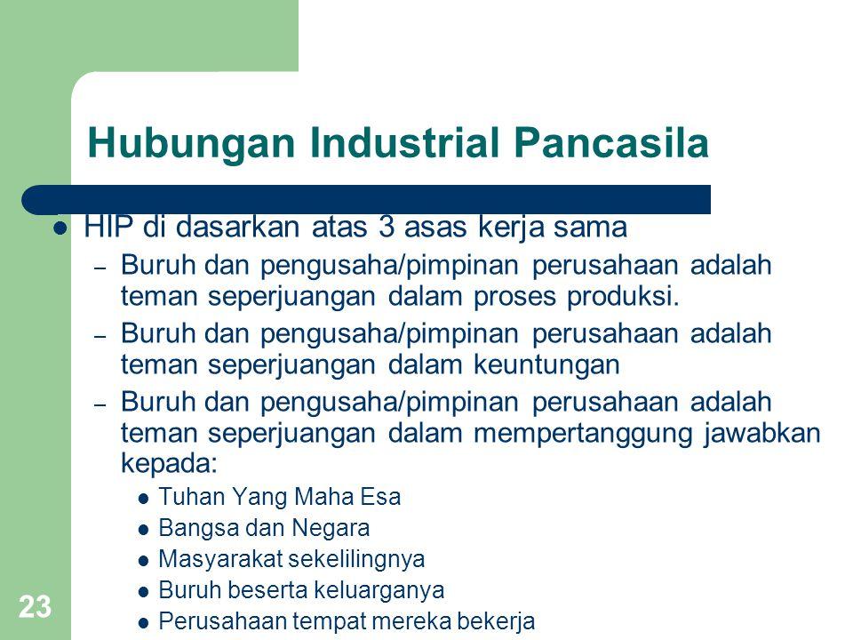 23 Hubungan Industrial Pancasila HIP di dasarkan atas 3 asas kerja sama – Buruh dan pengusaha/pimpinan perusahaan adalah teman seperjuangan dalam pros