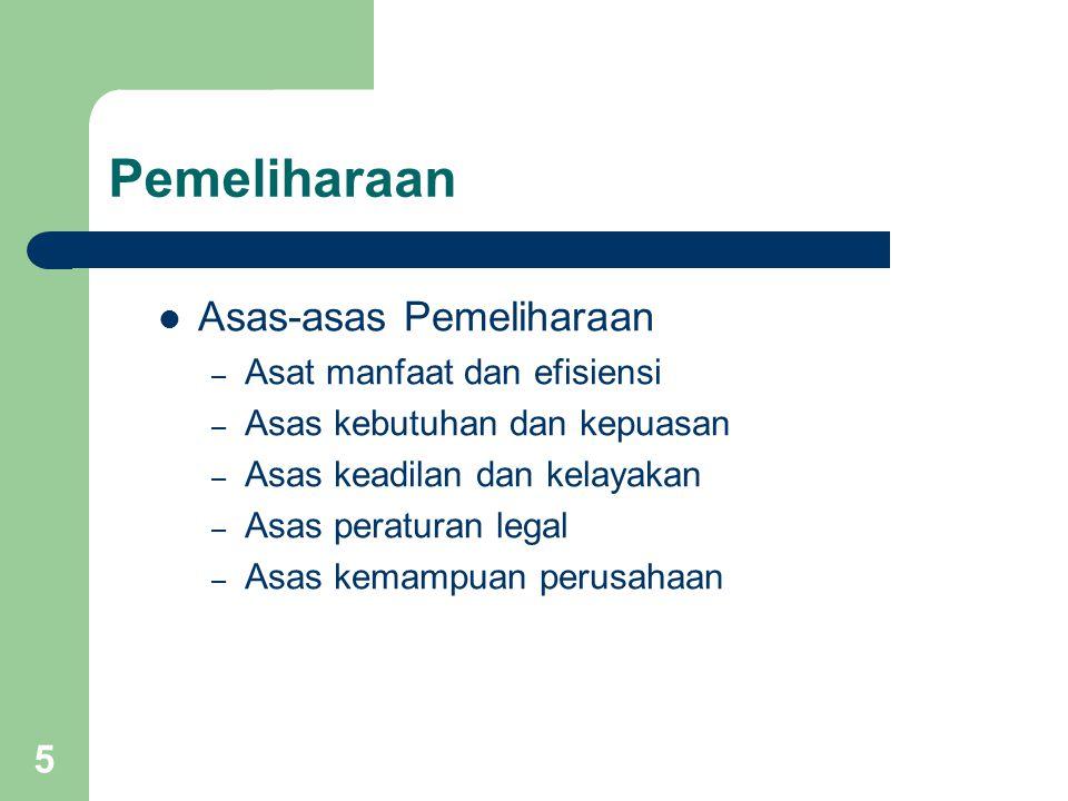 5 Pemeliharaan Asas-asas Pemeliharaan – Asat manfaat dan efisiensi – Asas kebutuhan dan kepuasan – Asas keadilan dan kelayakan – Asas peraturan legal