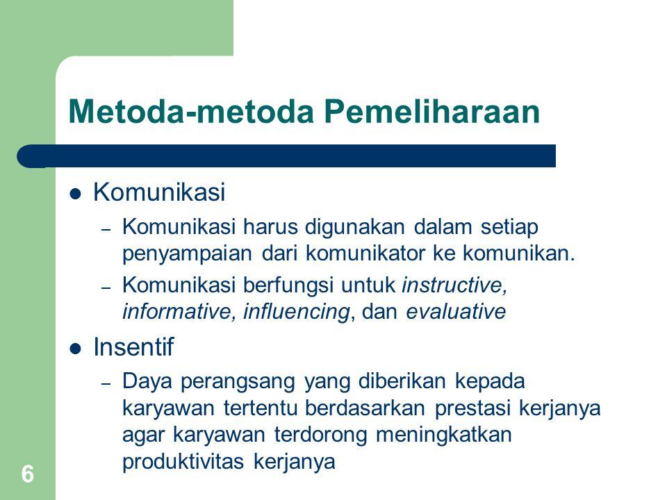 6 Metoda-metoda Pemeliharaan Komunikasi – Komunikasi harus digunakan dalam setiap penyampaian dari komunikator ke komunikan. – Komunikasi berfungsi un