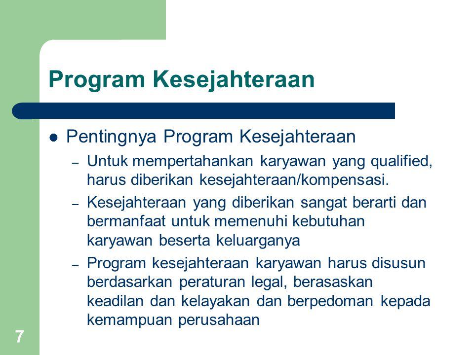 7 Program Kesejahteraan Pentingnya Program Kesejahteraan – Untuk mempertahankan karyawan yang qualified, harus diberikan kesejahteraan/kompensasi. – K