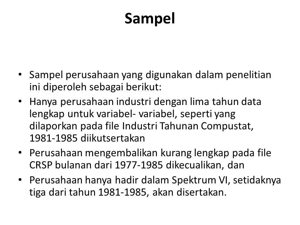 Sampel Sampel perusahaan yang digunakan dalam penelitian ini diperoleh sebagai berikut: Hanya perusahaan industri dengan lima tahun data lengkap untuk