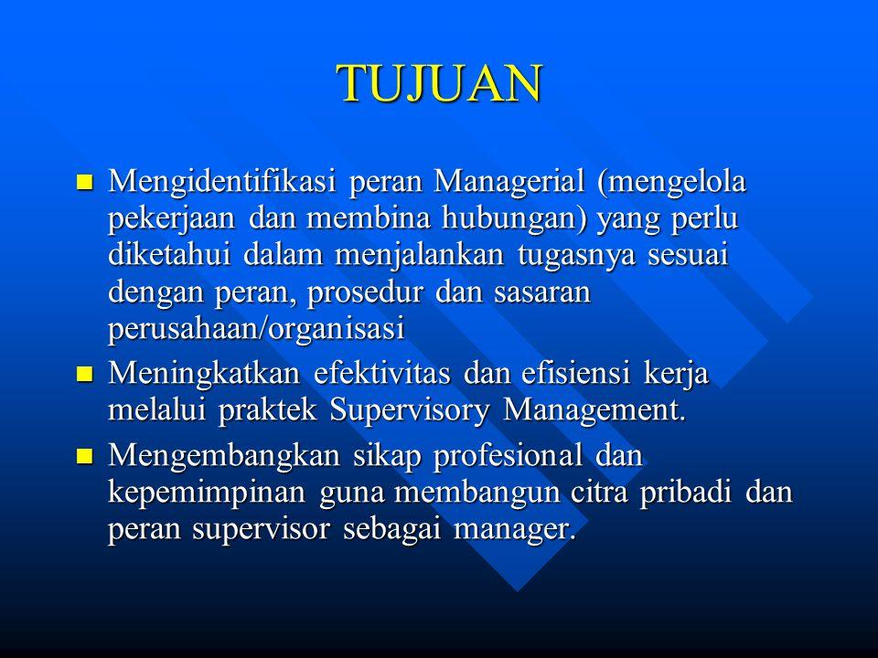 TUJUAN Mengidentifikasi peran Managerial (mengelola pekerjaan dan membina hubungan) yang perlu diketahui dalam menjalankan tugasnya sesuai dengan pera