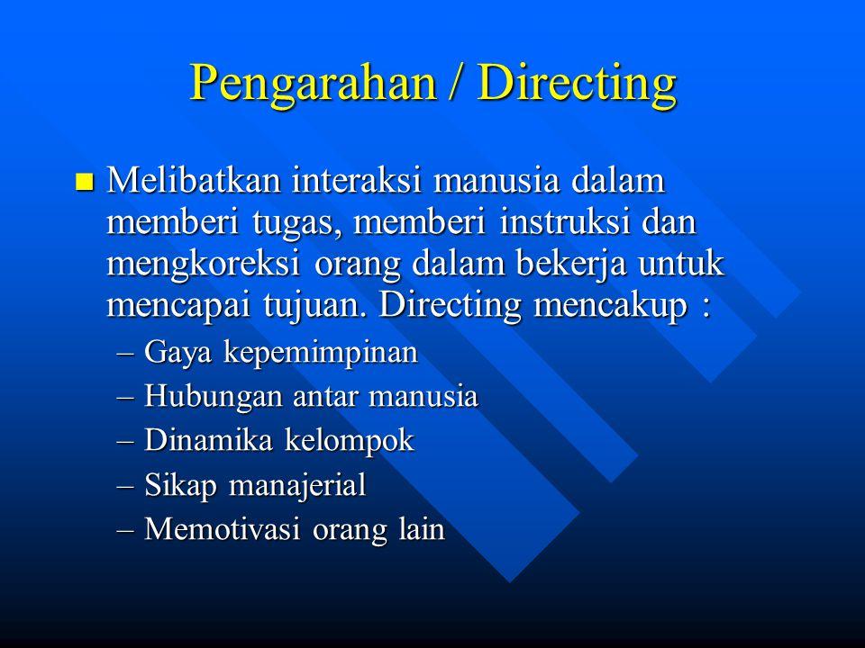 Pengarahan / Directing Melibatkan interaksi manusia dalam memberi tugas, memberi instruksi dan mengkoreksi orang dalam bekerja untuk mencapai tujuan.
