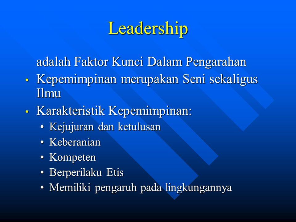 Leadership adalah Faktor Kunci Dalam Pengarahan Kepemimpinan merupakan Seni sekaligus Ilmu Kepemimpinan merupakan Seni sekaligus Ilmu Karakteristik Ke