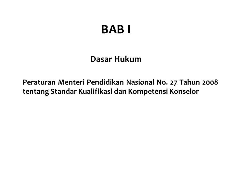 BAB I Dasar Hukum Peraturan Menteri Pendidikan Nasional No. 27 Tahun 2008 tentang Standar Kualifikasi dan Kompetensi Konselor