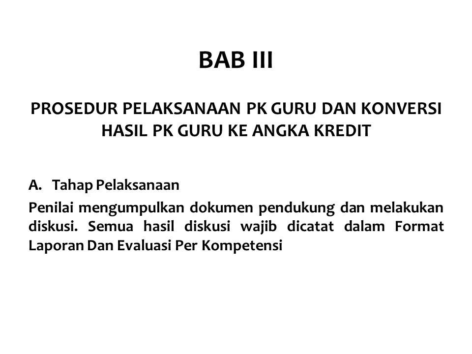 BAB III PROSEDUR PELAKSANAAN PK GURU DAN KONVERSI HASIL PK GURU KE ANGKA KREDIT A.Tahap Pelaksanaan Penilai mengumpulkan dokumen pendukung dan melakuk