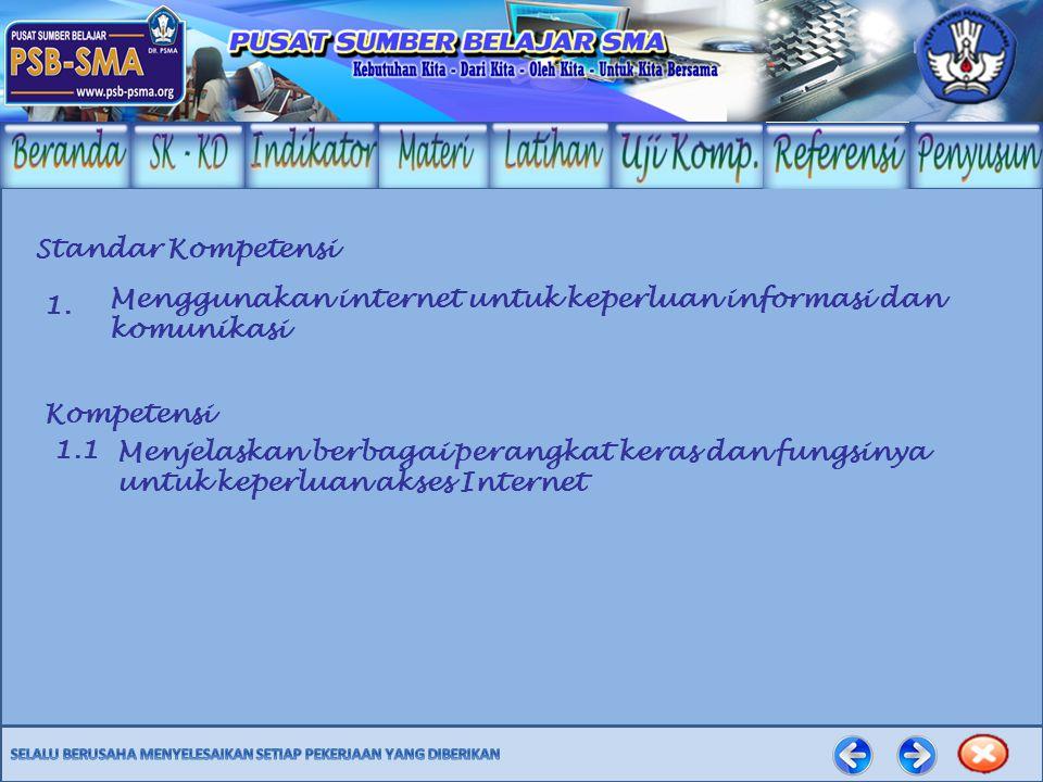 Standar Kompetensi Menggunakan internet untuk keperluan informasi dan komunikasi Kompetensi Menjelaskan berbagai perangkat keras dan fungsinya untuk keperluan akses Internet 1.1 1.