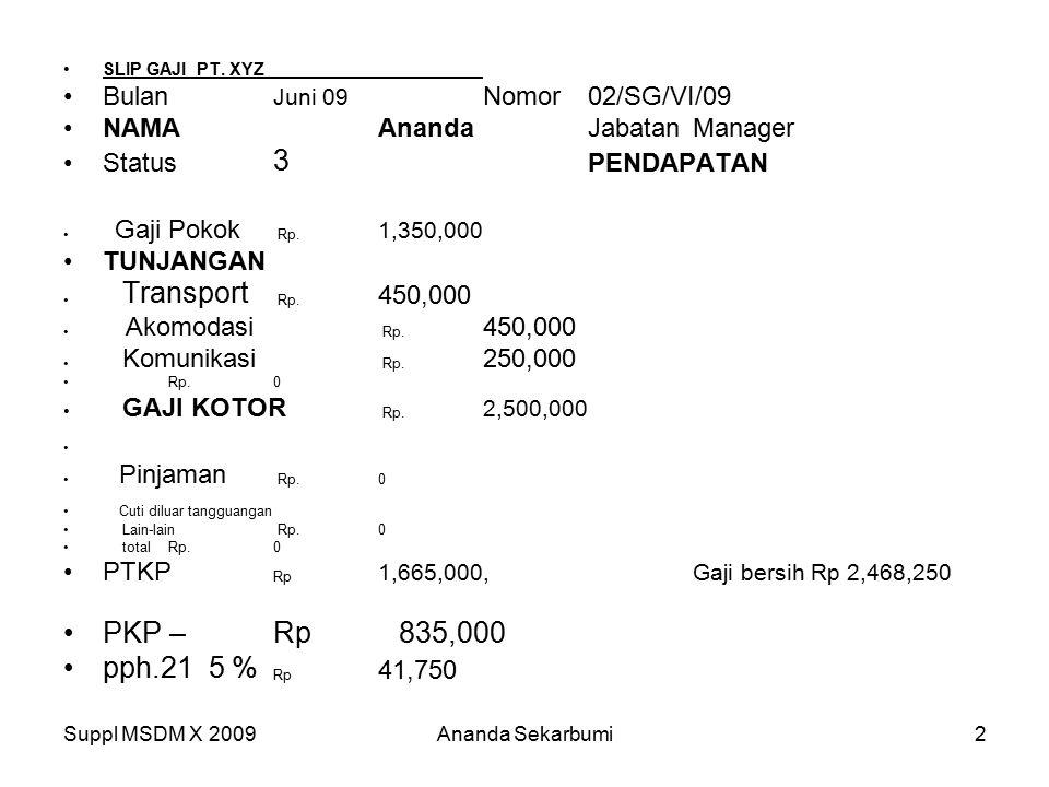 Suppl MSDM X 2009Ananda Sekarbumi2 SLIP GAJI PT. XYZ Bulan Juni 09 Nomor02/SG/VI/09 NAMA AnandaJabatanManager Status 3 PENDAPATAN Gaji Pokok Rp. 1,350