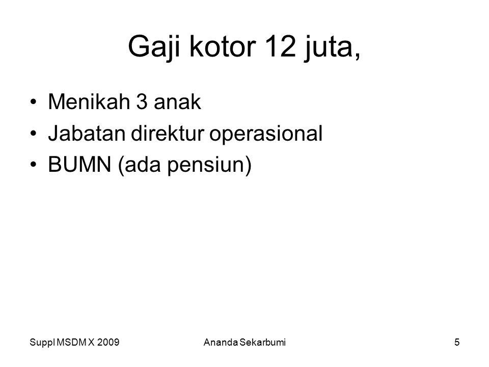 Gaji kotor 12 juta, Menikah 3 anak Jabatan direktur operasional BUMN (ada pensiun) Suppl MSDM X 2009Ananda Sekarbumi5