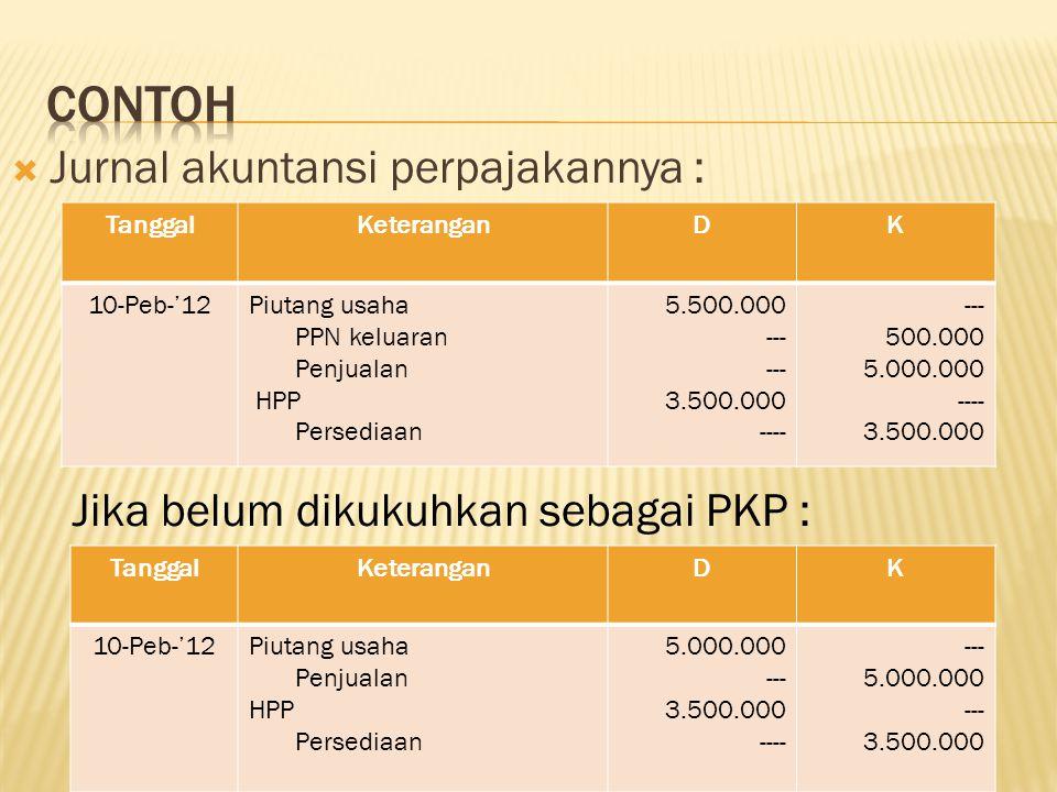  Untuk WP yg belum dikukuhkan sebagai PKP, PPN masukan tetap di kenakan tetapi tidak dapat dikreditkan, sehingga PPn masukannya tidak dibukukan sebagai PPN masukan tetapi sebagai harga perolehan barang yang dibeli.