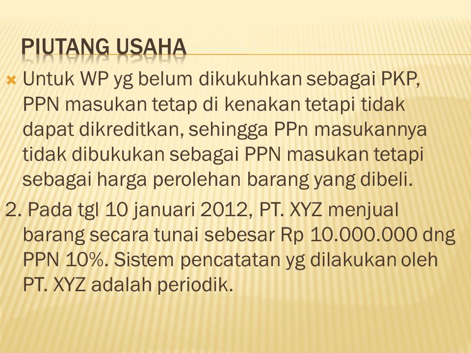  Jurnal akuntansi perpajakannya : TanggalKeteranganDK 10-Jan-'12Kas Penjualan PPN keluaran 11.000.000 --- 10.000.000 1.000.000 2 hari kemuadian brg yg dijual senilai Rp 2.000.000 dikembalikan kepd PT.