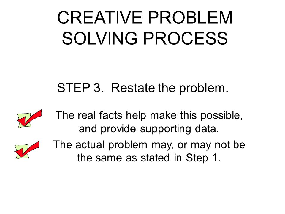 CREATIVE PROBLEM SOLVING PROCESS STEP 3.Restate the problem.