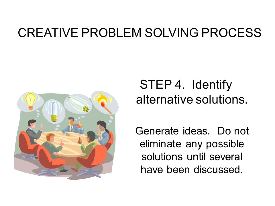 CREATIVE PROBLEM SOLVING PROCESS STEP 4.Identify alternative solutions.