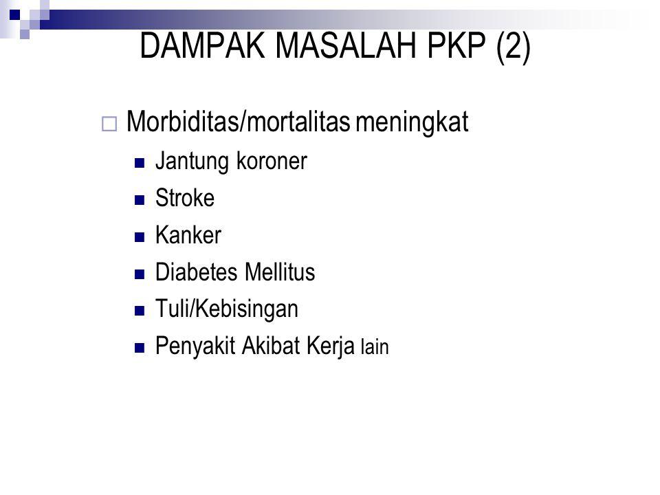 DAMPAK MASALAH PKP (2)  Morbiditas/mortalitas meningkat Jantung koroner Stroke Kanker Diabetes Mellitus Tuli/Kebisingan Penyakit Akibat Kerja lain