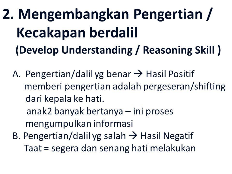 2. Mengembangkan Pengertian / Kecakapan berdalil (Develop Understanding / Reasoning Skill ) A.Pengertian/dalil yg benar  Hasil Positif memberi penger