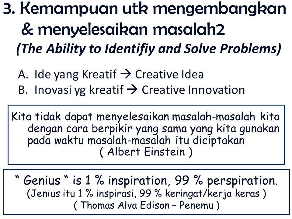 3. Kemampuan utk mengembangkan & menyelesaikan masalah2 (The Ability to Identifiy and Solve Problems) A.Ide yang Kreatif  Creative Idea B.Inovasi yg