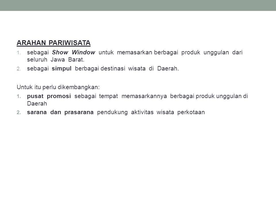 ARAHAN PARIWISATA 1. sebagai Show Window untuk memasarkan berbagai produk unggulan dari seluruh Jawa Barat. 2. sebagai simpul berbagai destinasi wisat