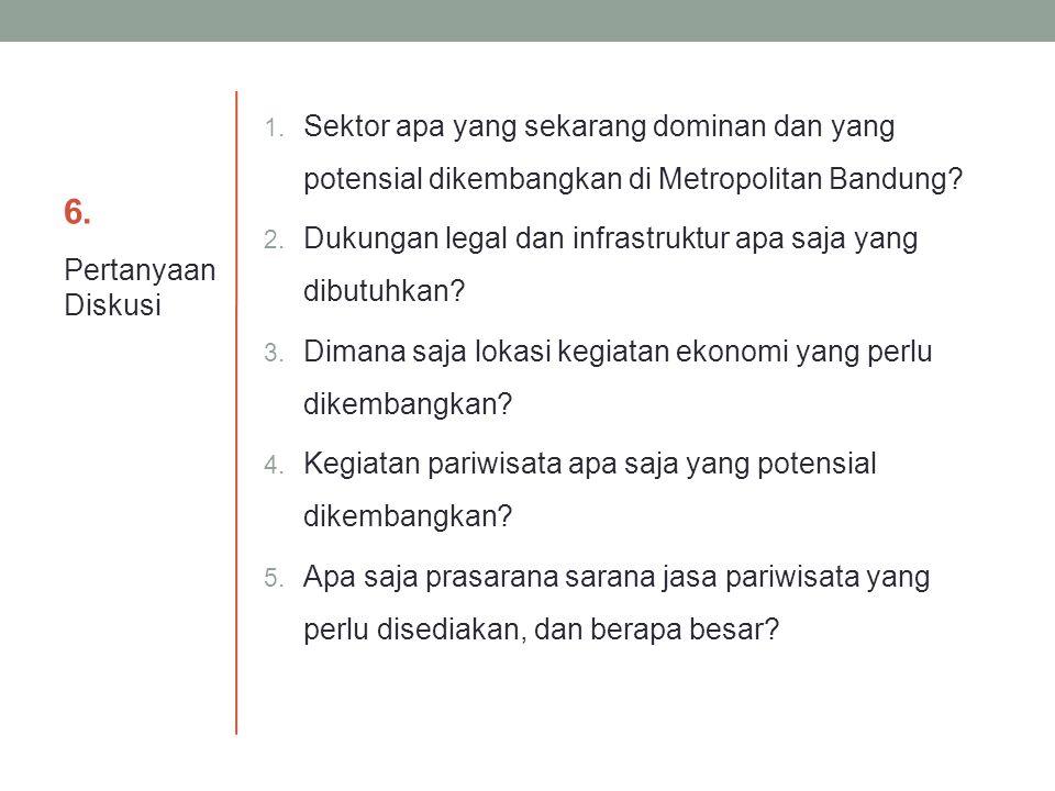 6.6. 1. Sektor apa yang sekarang dominan dan yang potensial dikembangkan di Metropolitan Bandung? 2. Dukungan legal dan infrastruktur apa saja yang di