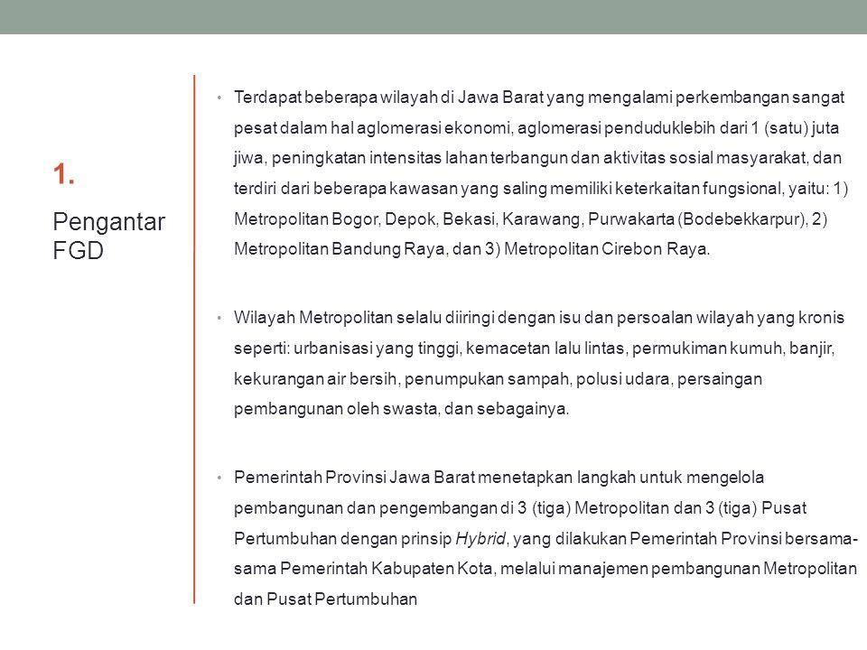 Masa Berlaku Pengelolaan pembangunan dan pengembangan Metropolitan dan Pusat Pertumbuhan di Daerah berlaku sampai dengan tahun 2050 (Pasal 9) Arah Pengembangan Metropolitan Bandung: Metropolitan Modern berbasis wisata perkotaan, industri kreatif, dan ilmu pengetahuan, teknologi, dan seni (IPTEKS).