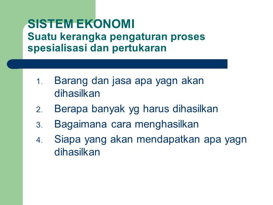 SISTEM EKONOMI Suatu kerangka pengaturan proses spesialisasi dan pertukaran 1.
