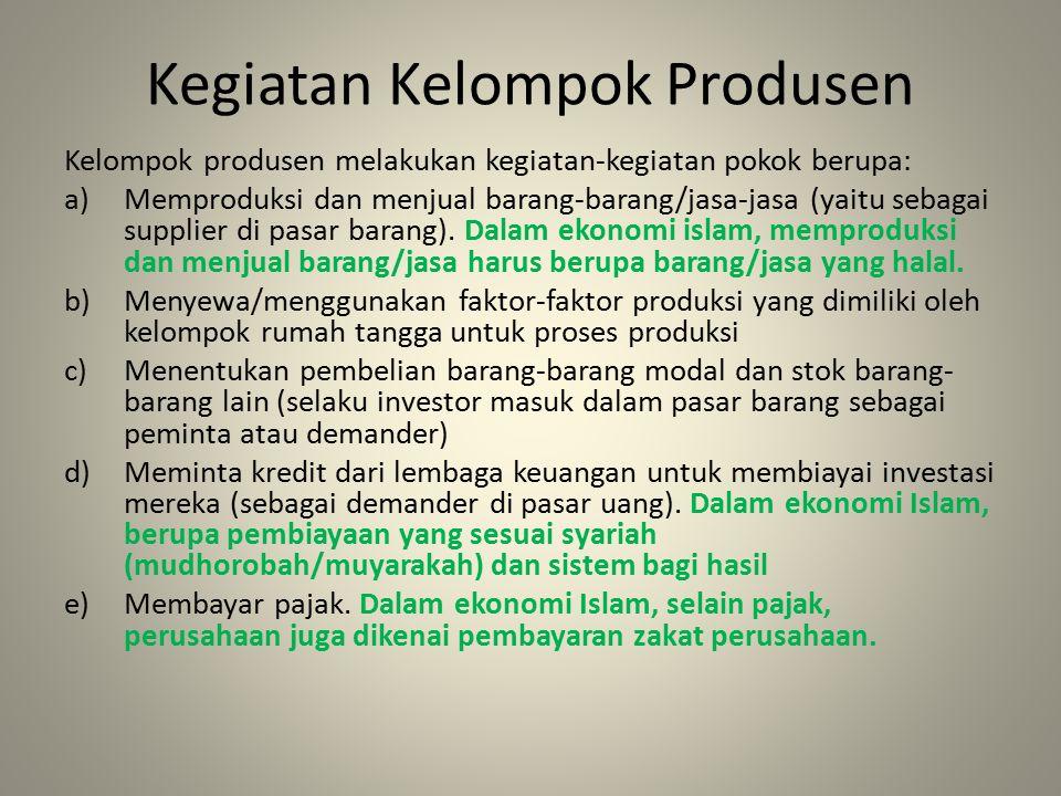 Kegiatan Kelompok Produsen Kelompok produsen melakukan kegiatan-kegiatan pokok berupa: a)Memproduksi dan menjual barang-barang/jasa-jasa (yaitu sebagai supplier di pasar barang).