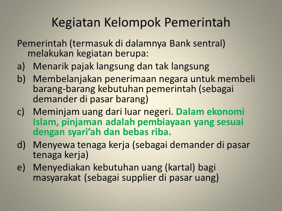 Kegiatan Kelompok Pemerintah Pemerintah (termasuk di dalamnya Bank sentral) melakukan kegiatan berupa: a)Menarik pajak langsung dan tak langsung b)Membelanjakan penerimaan negara untuk membeli barang-barang kebutuhan pemerintah (sebagai demander di pasar barang) c)Meminjam uang dari luar negeri.