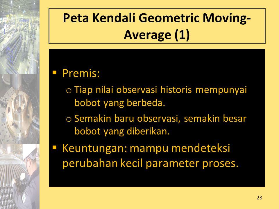 23 Peta Kendali Geometric Moving- Average (1)  Premis: o Tiap nilai observasi historis mempunyai bobot yang berbeda. o Semakin baru observasi, semaki