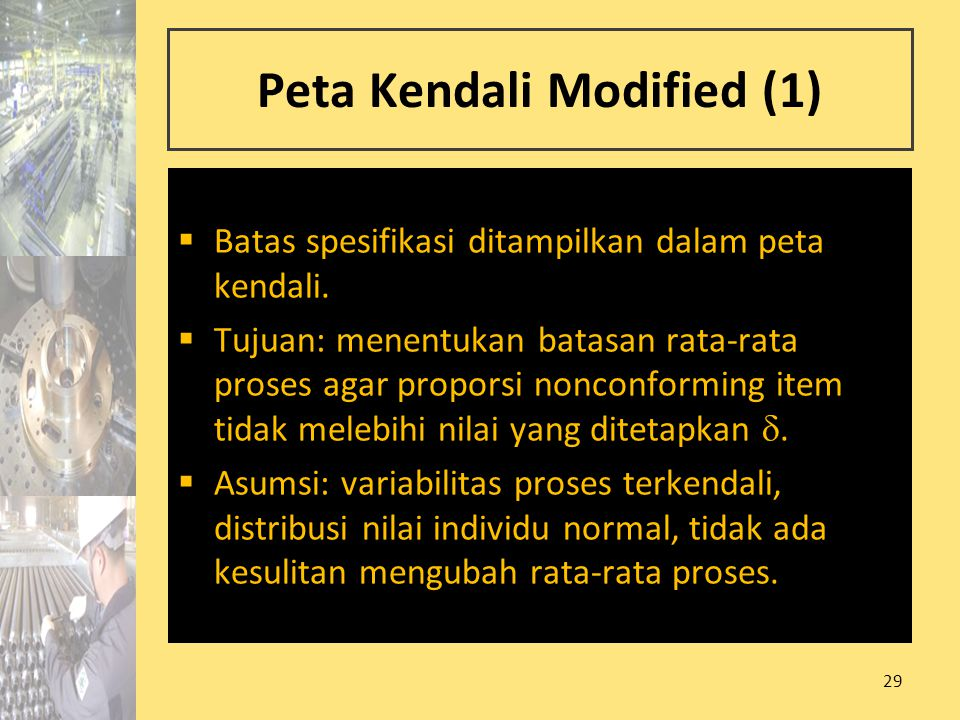 29 Peta Kendali Modified (1)  Batas spesifikasi ditampilkan dalam peta kendali.  Tujuan: menentukan batasan rata-rata proses agar proporsi nonconfor