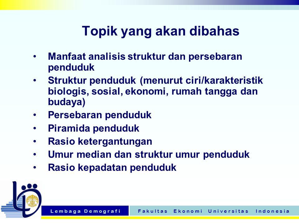 L e m b a g a D e m o g r a f iF a k u l t a s E k o n o m i U n i v e r s i t a s I n d o n e s i a Topik yang akan dibahas Manfaat analisis struktur