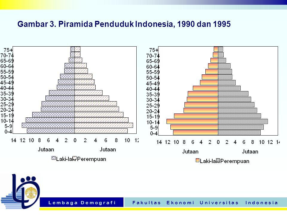 L e m b a g a D e m o g r a f iF a k u l t a s E k o n o m i U n i v e r s i t a s I n d o n e s i a Gambar 3. Piramida Penduduk Indonesia, 1990 dan 1