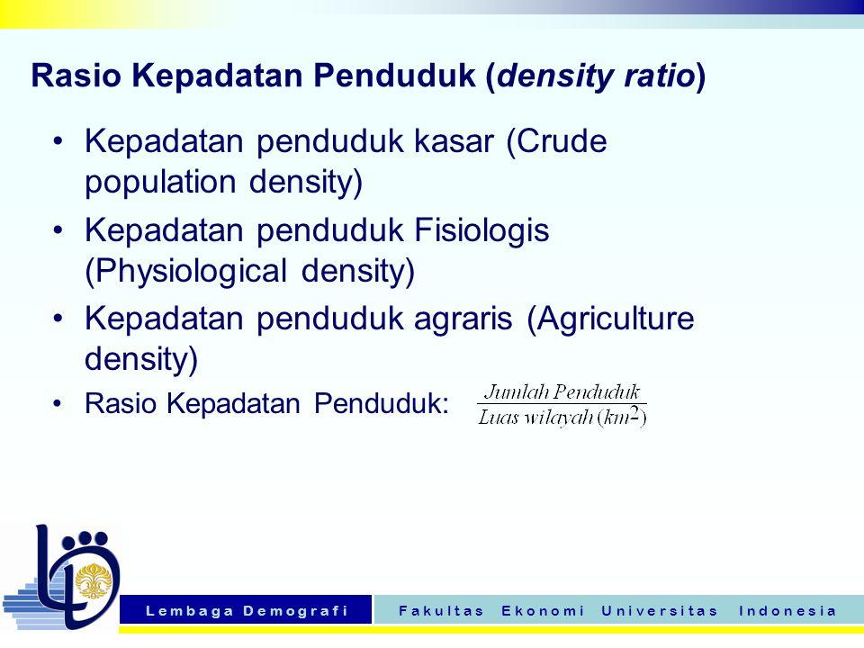 L e m b a g a D e m o g r a f iF a k u l t a s E k o n o m i U n i v e r s i t a s I n d o n e s i a Rasio Kepadatan Penduduk (density ratio) Kepadata