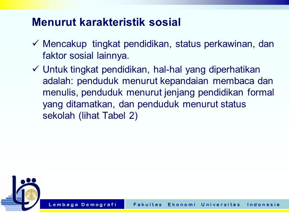 L e m b a g a D e m o g r a f iF a k u l t a s E k o n o m i U n i v e r s i t a s I n d o n e s i a Tabel 6 menunjukkan komposisi penduduk di Indonesia menurut tiga kelompok umur.