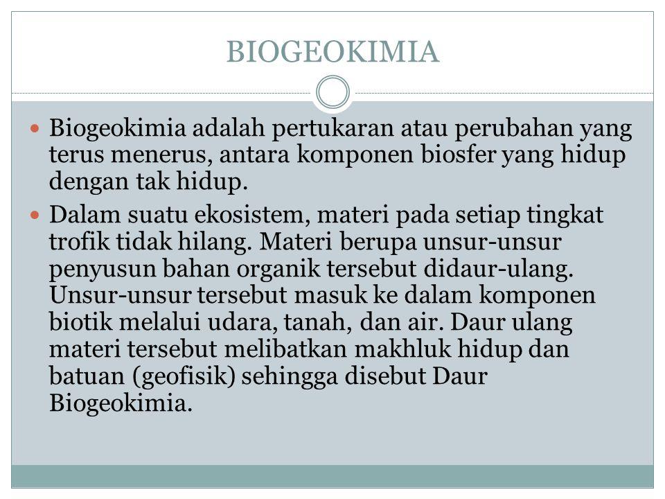 BIOGEOKIMIA Biogeokimia adalah pertukaran atau perubahan yang terus menerus, antara komponen biosfer yang hidup dengan tak hidup. Dalam suatu ekosiste