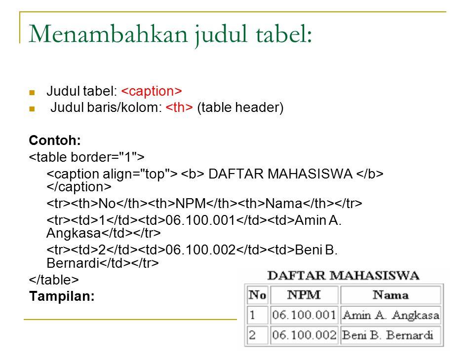Mengatur lebar dan tinggi suatu tabel: Atribut: weight dan height Nilai: ukuran % (max 100%) ukuran pixel Contoh: DAFTAR MAHASISWA No NPM Nama 1.