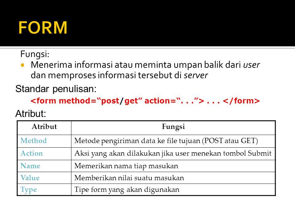 Fungsi:  Menerima informasi atau meminta umpan balik dari user dan memproses informasi tersebut di server Standar penulisan:... Atribut: AtributFungs