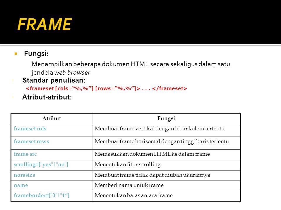  Fungsi: Menampilkan beberapa dokumen HTML secara sekaligus dalam satu jendela web browser. Standar penulisan:... Atribut-atribut: AtributFungsi fram