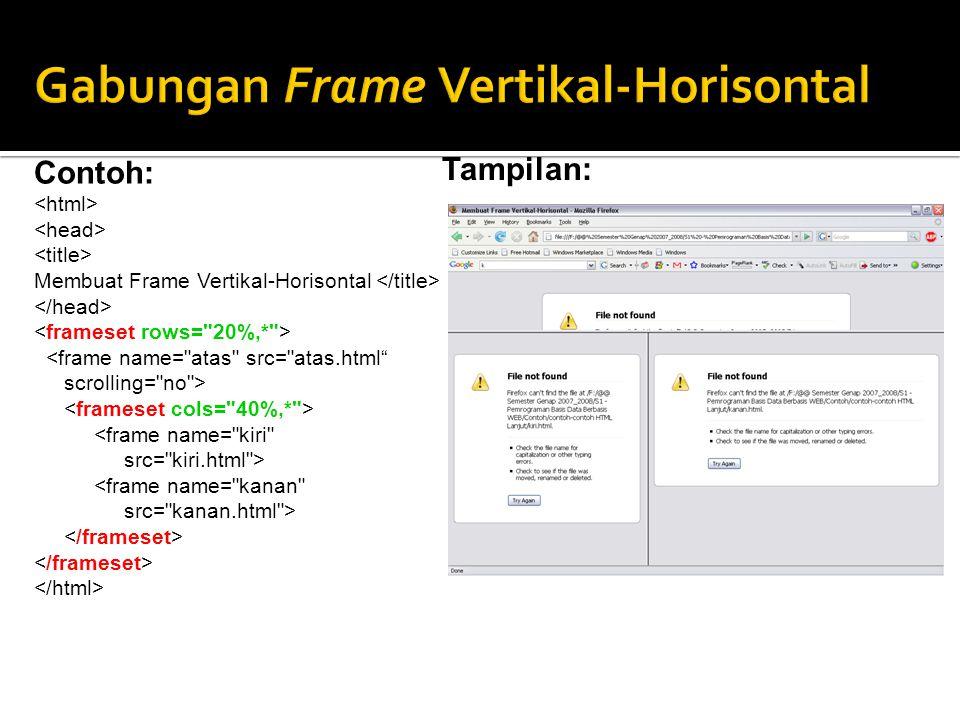 Contoh: Membuat Frame Vertikal-Horisontal <frame name= atas src= atas.html scrolling= no > <frame name= kiri src= kiri.html > <frame name= kanan src= kanan.html > Tampilan: