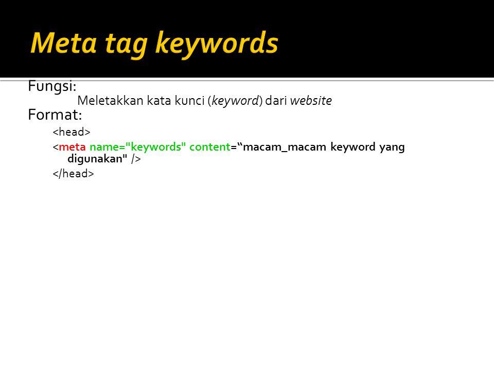 Fungsi: Meletakkan kata kunci (keyword) dari website Format: