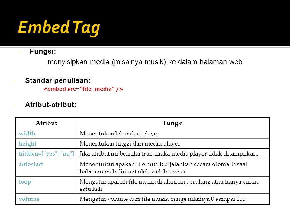 Standar penulisan: Atribut-atribut: Fungsi: menyisipkan media (misalnya musik) ke dalam halaman web AtributFungsi widthMenentukan lebar dari player he
