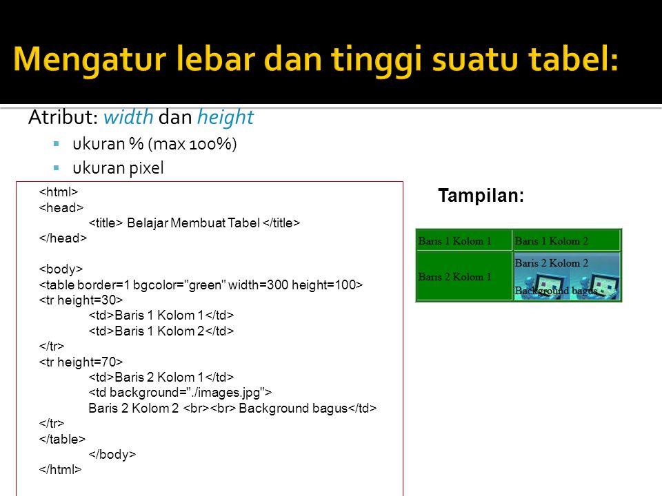  Tombol Submit: digunakan ketika user mengisi form dan ingin mengirimkan ke server  Tombol Reset: digunakan ketika user ingin menghapus/mengosongkan semua masukan yang ditulis dalam form