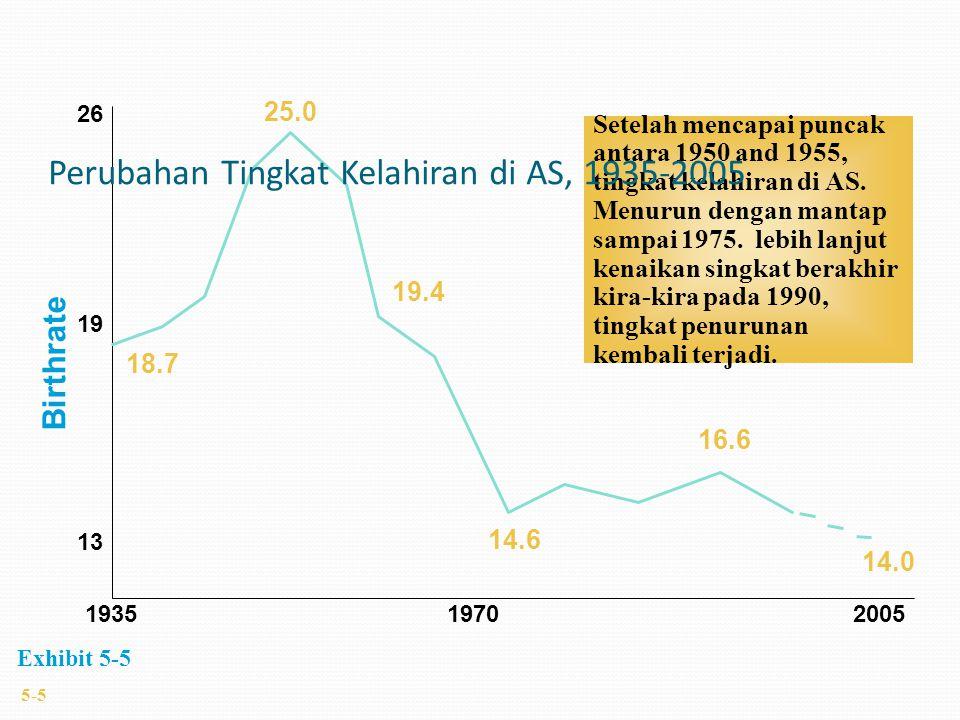1935 19702005 13 19 26 Birthrate 25.0 18.7 19.4 14.6 14.0 16.6 Setelah mencapai puncak antara 1950 and 1955, tingkat kelahiran di AS. Menurun dengan m