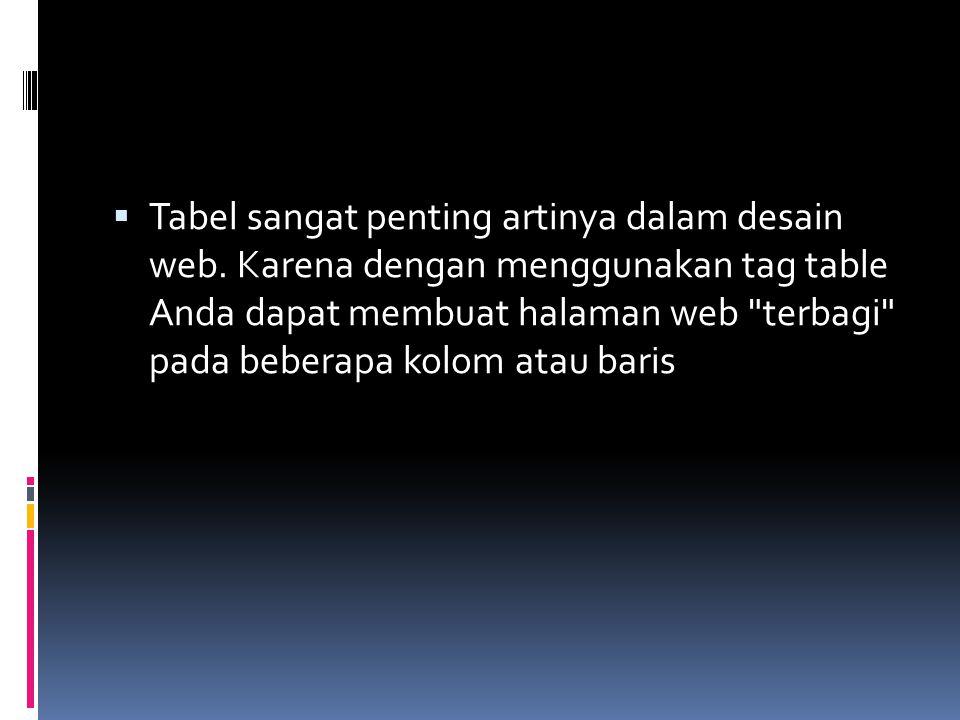  Tabel sangat penting artinya dalam desain web.