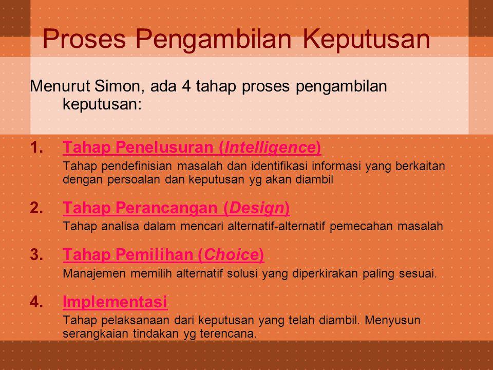 Proses Pengambilan Keputusan Menurut Simon, ada 4 tahap proses pengambilan keputusan: 1.Tahap Penelusuran (Intelligence) Tahap pendefinisian masalah d