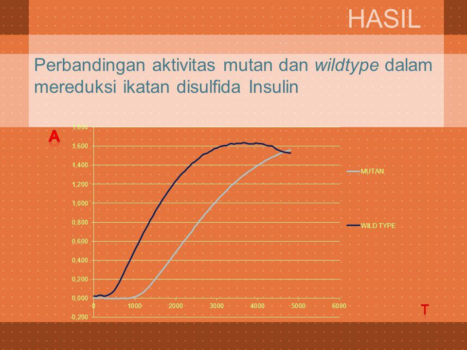Perbandingan aktivitas mutan dan wildtype dalam mereduksi ikatan disulfida Insulin HASIL