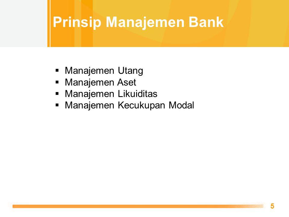 Free Powerpoint Templates 5  Manajemen Utang  Manajemen Aset  Manajemen Likuiditas  Manajemen Kecukupan Modal Prinsip Manajemen Bank
