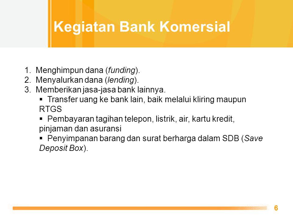 Free Powerpoint Templates 6 1. Menghimpun dana (funding). 2. Menyalurkan dana (lending). 3. Memberikan jasa-jasa bank lainnya.  Transfer uang ke bank