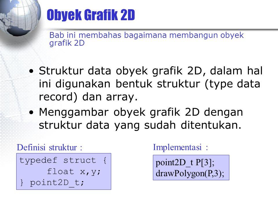 Obyek Grafik 2D Struktur data obyek grafik 2D, dalam hal ini digunakan bentuk struktur (type data record) dan array.
