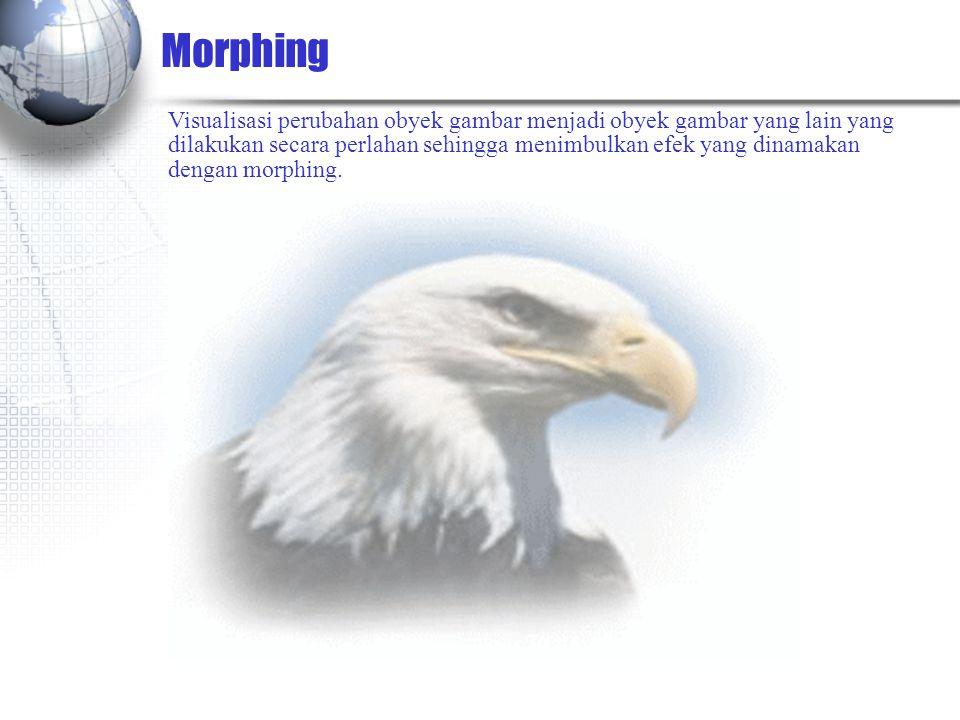 Morphing Visualisasi perubahan obyek gambar menjadi obyek gambar yang lain yang dilakukan secara perlahan sehingga menimbulkan efek yang dinamakan dengan morphing.